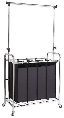 Bonnlo 4 Bag laundry Sorter with Adjustable Hanging Bar  Removable Bags and Brake Carters  Black