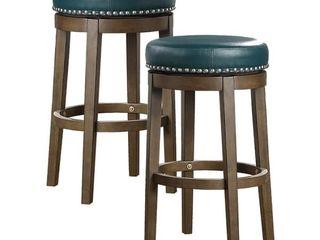 Michigan Round Swivel Stool  Set of 2    Green   Bar Height   29 32 in  Retail   189 99