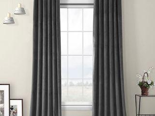 Exclusive Fabrics   Furnishings Pepper Gray Heritage Room Darkening Plush Velvet Curtain   50 in  W x 108 in  l  Pepper Grey