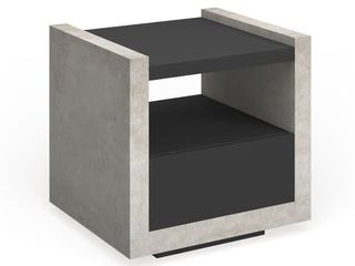 Furniture of America Kendelle Industrial Concrete like End Table   Black Grey