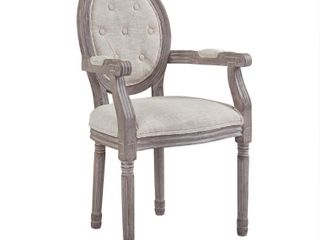 Arise Vintage French Upholstered Fabric Dining Armchair Beige   Modway