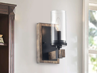 Set of 2   Alfreda 1 light Antique Black Iron Wood Wall Sconce with Clear Glass