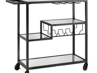 Metropolitan Mirrored Glass Top Metal Bar Cart by iNSPIRE Q Bold   Black 249 99