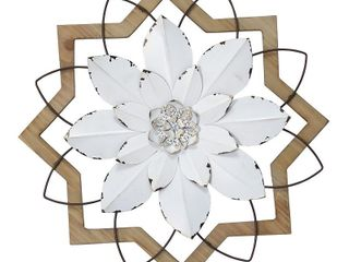 Stratton Home Decor Metal White Flower and Wood Frame