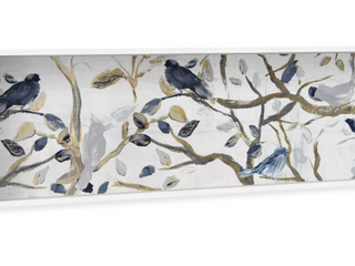 Gray Songbirds Carols by Oliver Gal   Shadowbox Panoramic Painting