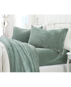 Great Bay Home Extra Soft Cozy Velvet Plush Solid Queen Sheet Set Bedding