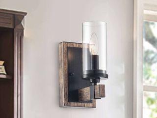 The lighting Store Alfreda 1 light Iron Wood Wall Sconce