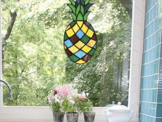 River of Goods Yellow Pineapple Stained Glass Window Panel  Multi colored