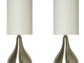 Touch lamps Brushed Nickel with Fabric Shades  2 Pack