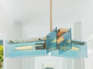Modern 3 light linear Fan Gold Chandelier Blue Water Ripple Glass Ceiling Pendant   l23 6 xW10 xH10   161 99