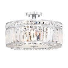Semi Flush 3 light Crystal Pendant