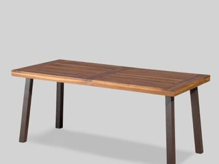 Della Outdoor Acacia Wood Rectangle Dining Table by CKH