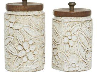 Round Floral Carved Ceramic Jars w  Wood lids SET OF 2