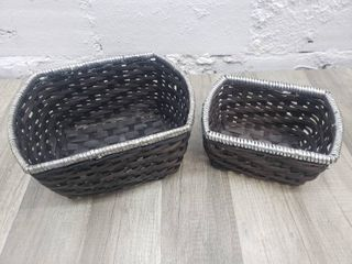 2 Woven Baskets with Silver Detail