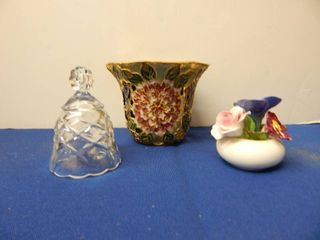 Misc lot Crystal Bell Candle Holder Porcelain Flowers