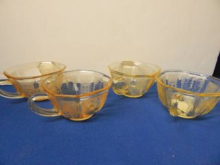 Set of 4 Amber Glass Coffee Cups