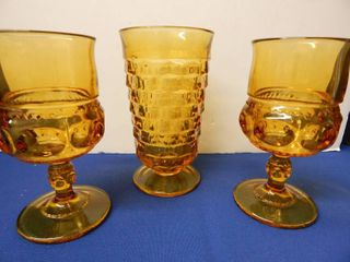 Vintage Heavy Amber Glasses