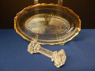 Crystal Knife Rest   Oval Dish