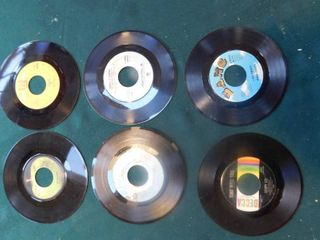 Six 45 RPM Records including The Beatles