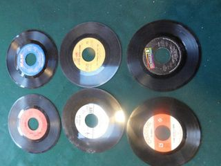 Six 45 RPM Records including Blood  Sweat   Tears