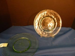 Vintage Green Glass Plates  2 ea