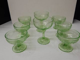 Vintage Hocking Green Glass Dessert Dishes