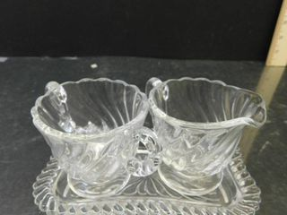 Colony Crystal   Timeless   Elegant Vintage Swirl Design Sugar   Creamer w  Tray