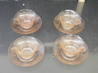 Dogwood Glass Design 4 Pink Cup and Saucers