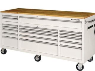 72 in  18 Drawer Mobile Workbench with Solid Wood Top in Gloss White