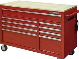 52 in  W 9 Drawer Deep Tool Chest Mobile Workbench in Gloss Red  HAS SMAll AMOUNT OF DAMAGE TO BACK OF BOX