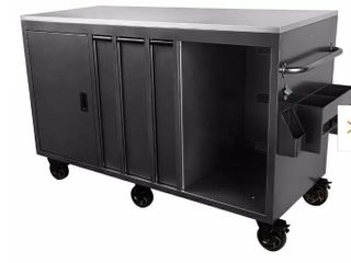 Silver 72 in  W x 46 5 in  H x 30 2 in  D Mobile Outdoor Kitchen Cabinet with 3 Drawes and Stainless Steel Top Surface DAMAGED  CART HAS A FEW DENTS AND SCUFFS ON 1 HANDlE