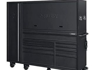 Heavy Duty 80 in  W 10 Drawer  Deep Combination Tool Chest and Rolling Cabinet Set in Matte Black  3 Piece  DAMAGED  HAS RUST AND MINOR DENTS AND DINGS