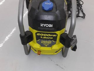 Ryobi Pressure Washer  2000 PSI  1 2 GPM  Green  Machine Only  Used