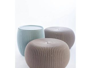 Urban Cozy Knit Outdoor Poufs and Table Balcony 3 Pc Set   Taupe Blue   Keter