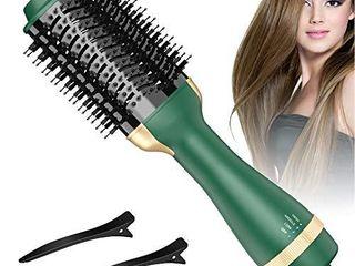 Bongtai Hot Air Brush Hair Dryer Brush One Step Hair Dryer   Volumizer 3 in 1 Brush Blow Dryer Styler for Rotating Straightening  Curling  Salon Negative Ion Ceramic Blow Dryer Brush Avocado Green