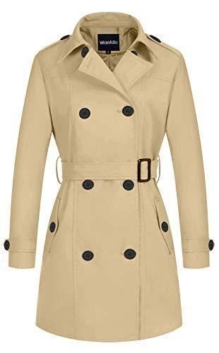 Wantdo Women s Windbreaker Belted Overcoat lightweight Trench Coat Khaki Smalll at