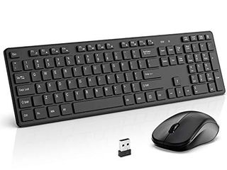 Wireless Keyboard and Mouse Combo  WisFox 2 4G Full Size Slim Thin Wireless Keyboard Mouse for Windows  Computer  Desktop  PC  laptop Mac  Silver Gray