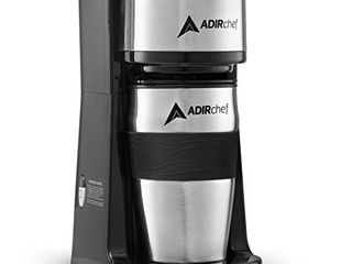 AdirChef Grab N  Go Personal Coffee Maker with 15 oz  Travel Mug   Single Serve Coffee Maker with Coffee Tumbler   Heavy Duty Sturdy Coffee Maker   Compact Design  Sour Green