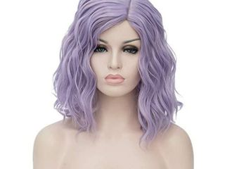 TopWigy light Purple Cosplay Wig Medium length Short Bob Curly Body Wave Colorful Synthetic Wigs Costume Party Bob Full Women Wig  light Purple 16