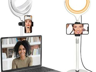 Ring light for laptop Computer   Video Conferencing lighting  Desk Selfie Circle light with Stand and Phone Holder for Video Recording  Webcam  Zoom Call Meeting  Studio  YouTube  Camera
