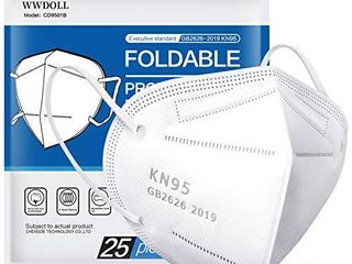 25 Pack KN95 Face Mask  Filter Efficiency 95  5 Ply Mask Protection Against PM2 5  Fire Smoke  Dust Cup Dust Mask White