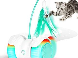 HAUEA Interactive Robotic Cat Toys Remote Control  Automatic Feather Ball Teaser Toys for Kitten Cats with Build in Spinning led light large Capacity Battery  All Floors Carpet Available