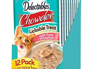 Hartz Delectables Chowder lickable Wet Cat Treats for Kitten  Adult   Senior Cats  Tuna   Whitefish  12 Count