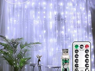 liyuanQ Curtain String lights 300 lEDs Window Curtain Fairy lights Copper Wire Twinkle String lights USB Remote Control 8 Modes Hanging lights for Bedroom Indoor Home Wedding Decor  300 lED  White