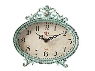 Creative Co Op Green Antiqued Pewter Mantel Clock