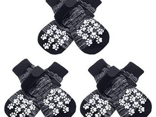EXPAWlORER Double Side Anti Slip Dog Socks with Adjustable Straps   3 Pairs Strong Traction Control for Indoor on Hardwood Floor Wear  Best Puppy Pet Paw Protection