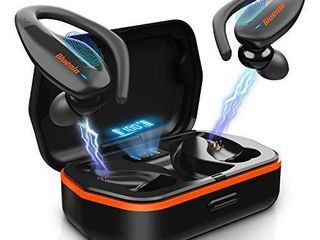 Wireless Earbuds  Bluenin Bluetooth 5 0 Sport Headphones with Charging Case  136H Playtime  Stereo Deep Sound TWS Earphones  IPX7 Waterproof CVC8 0 Noise Cancelling Headset with Mic Black