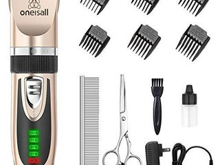 oneisall Dog Clippers low Noise  2 Speed Quiet Dog Grooming Kit Rechargeable Cordless Pet Hair Clipper Trimmer Shaver for Small and large Dogs Cats Animals
