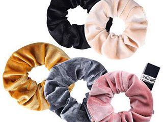 5pcs large Velvet Scrunchies  Elastic Hair Scrunchy Soft Hair Bands Ponytail Holder with Zipper Hidden Pocket Premium Hair Accessories for Women Girl  Assorted Colors