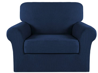 Turquoize  Stretch Furniture Cover  2 Piece  Chair  Navy blue